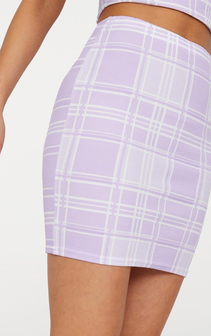 Lilac Check Print Mini Skirt 5