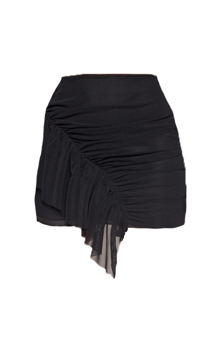 Mini-jupe en mesh noir à volants  3