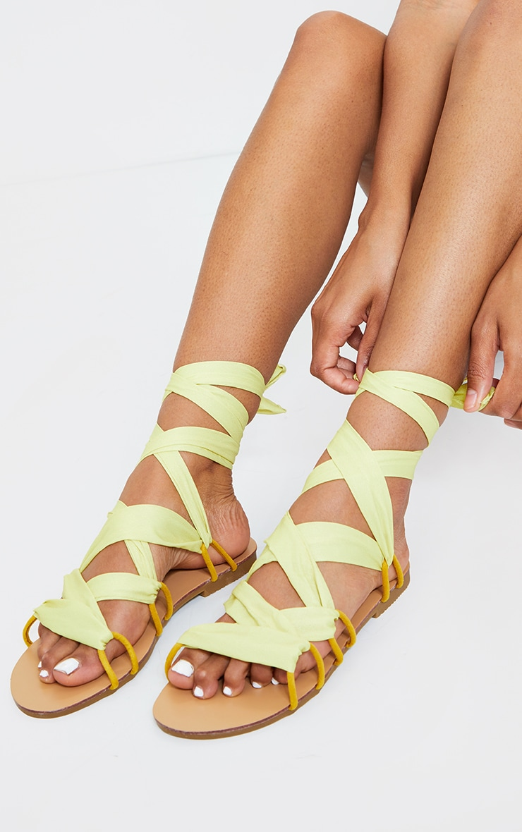 Lime Ghillie Lace Up Sandals 1