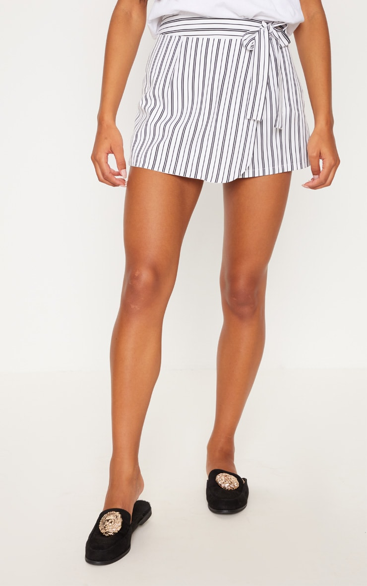 Monochrome Stripe Side Tie Skort 2