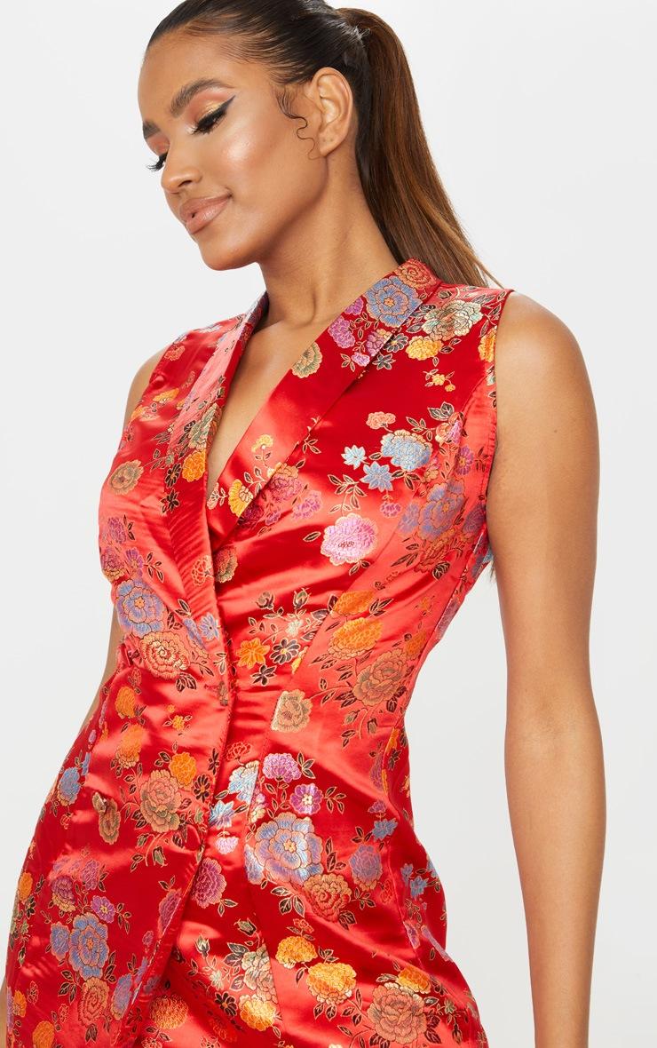 Red Jacquard High Collar Sleeveless Blazer Dress 4