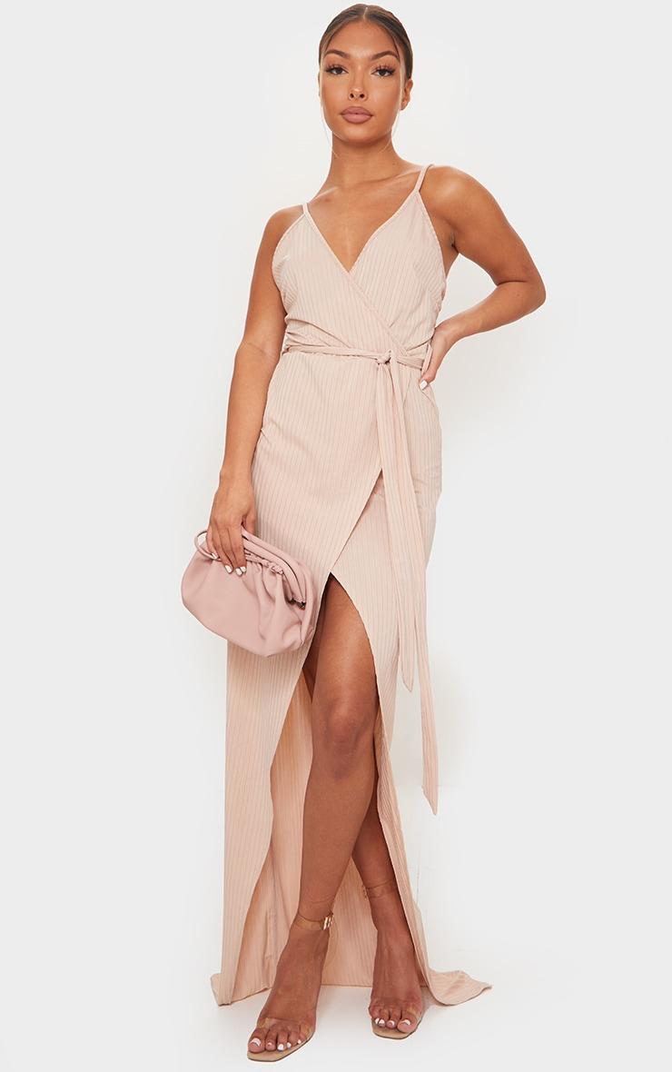 Stone Ribbed Wrap Maxi Dress 1