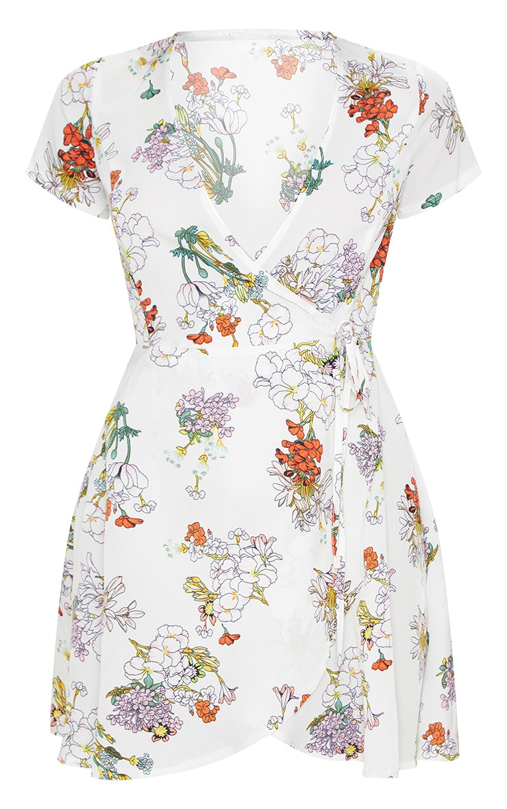 White Floral Print Wrap Tea Dress 3