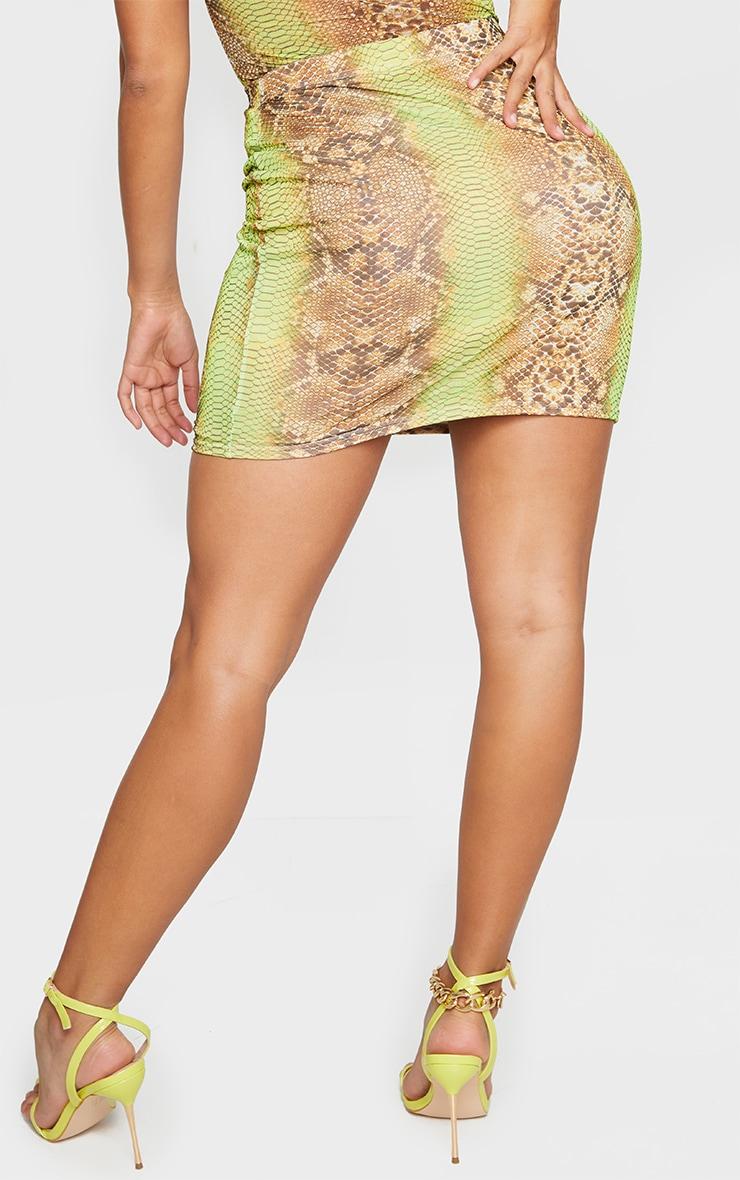 Shape Lime Snake Print Mesh Bodycon Skirt 3