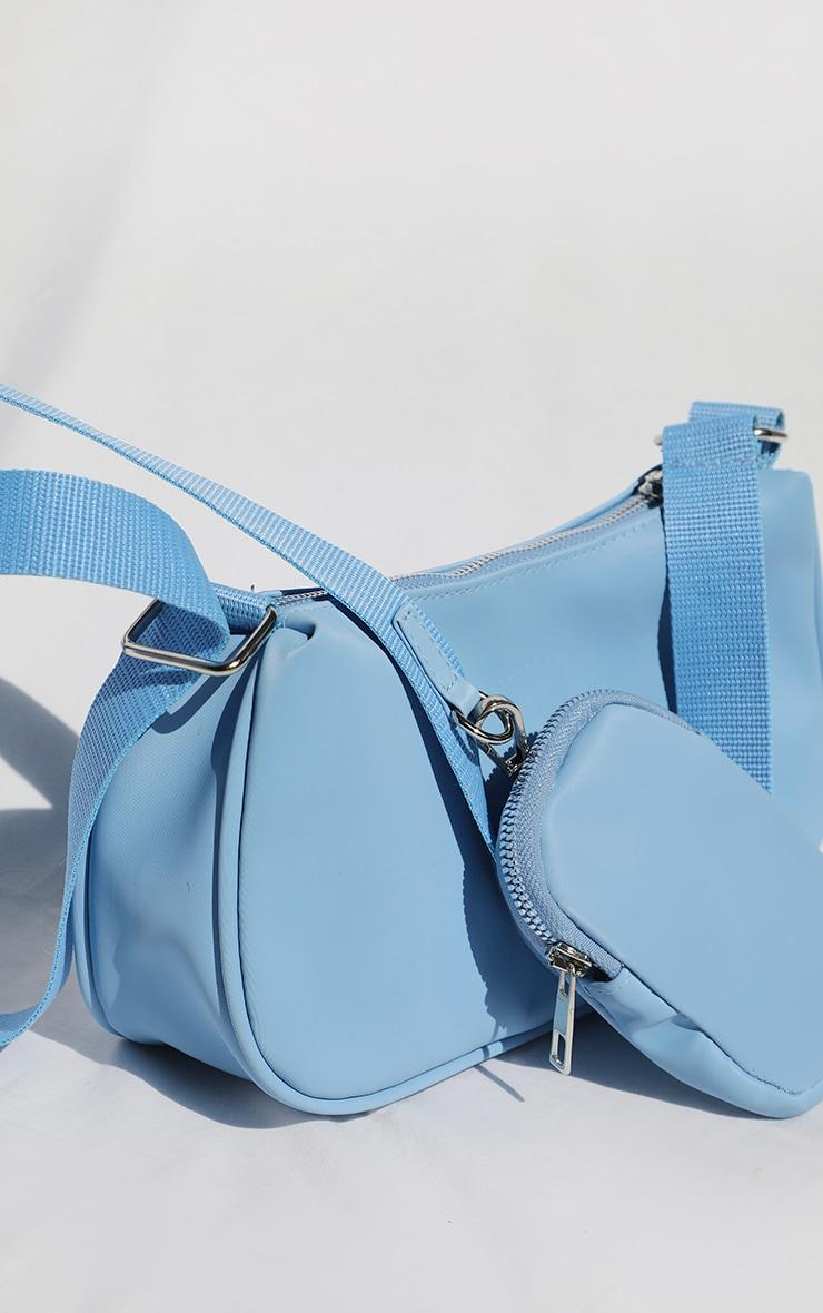 Baby Blue Multi Pocket Cross Body Bag 1