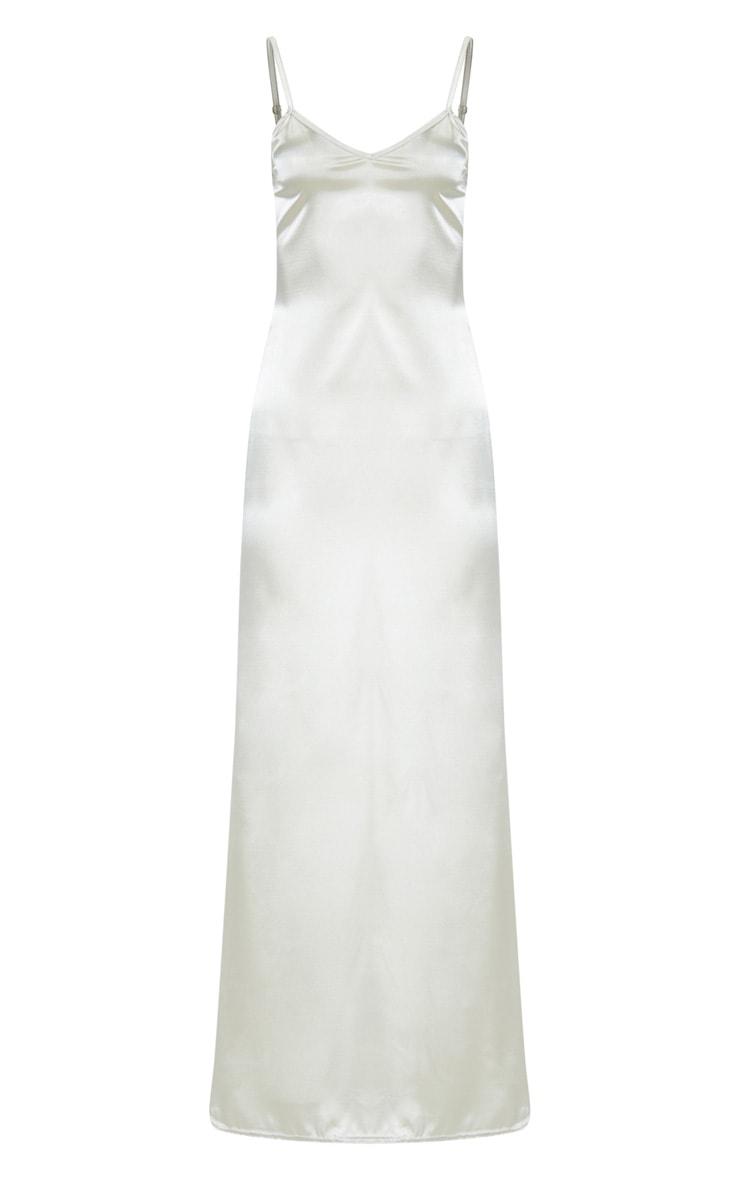 Champagne Satin V Neck Maxi Dress 3