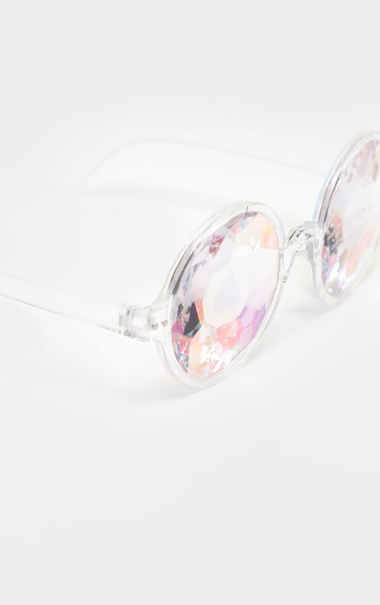Clear Iridescent Faceted Glasses 2