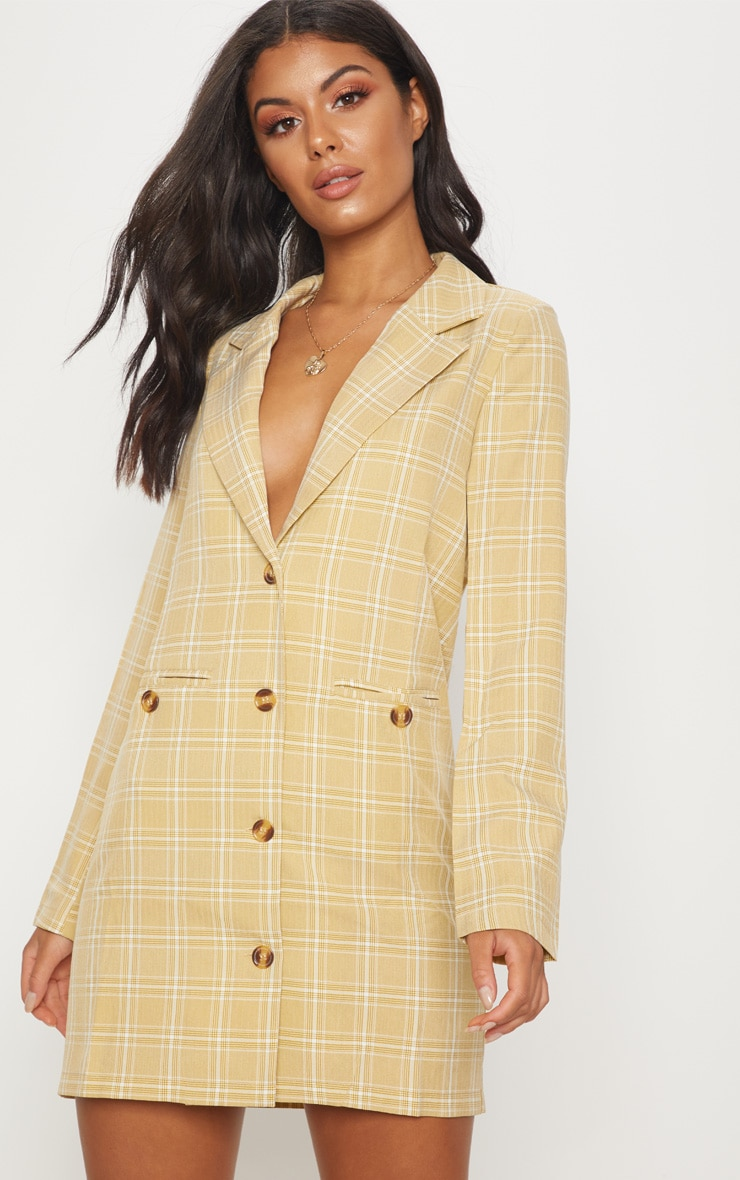 Beige Check Print Tortoise Button Blazer Dress 4