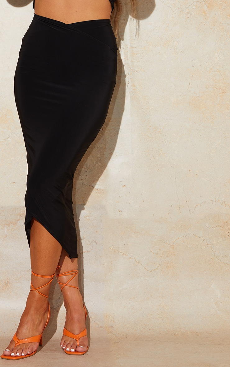 Black Slinky Wrap Round Midaxi Skirt 4
