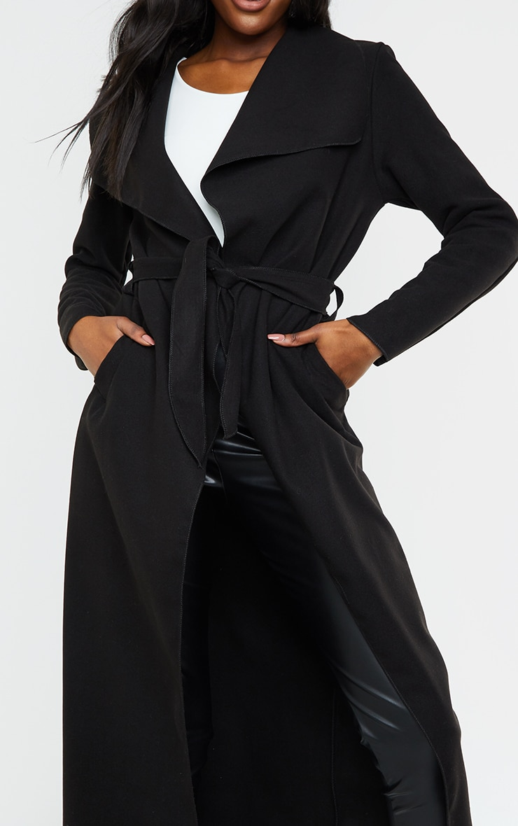 Tall Black Maxi Length Oversized Waterfall Belted Coat 4