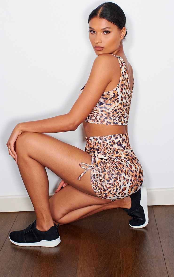 Leopard Ruched Side Booty Short 4
