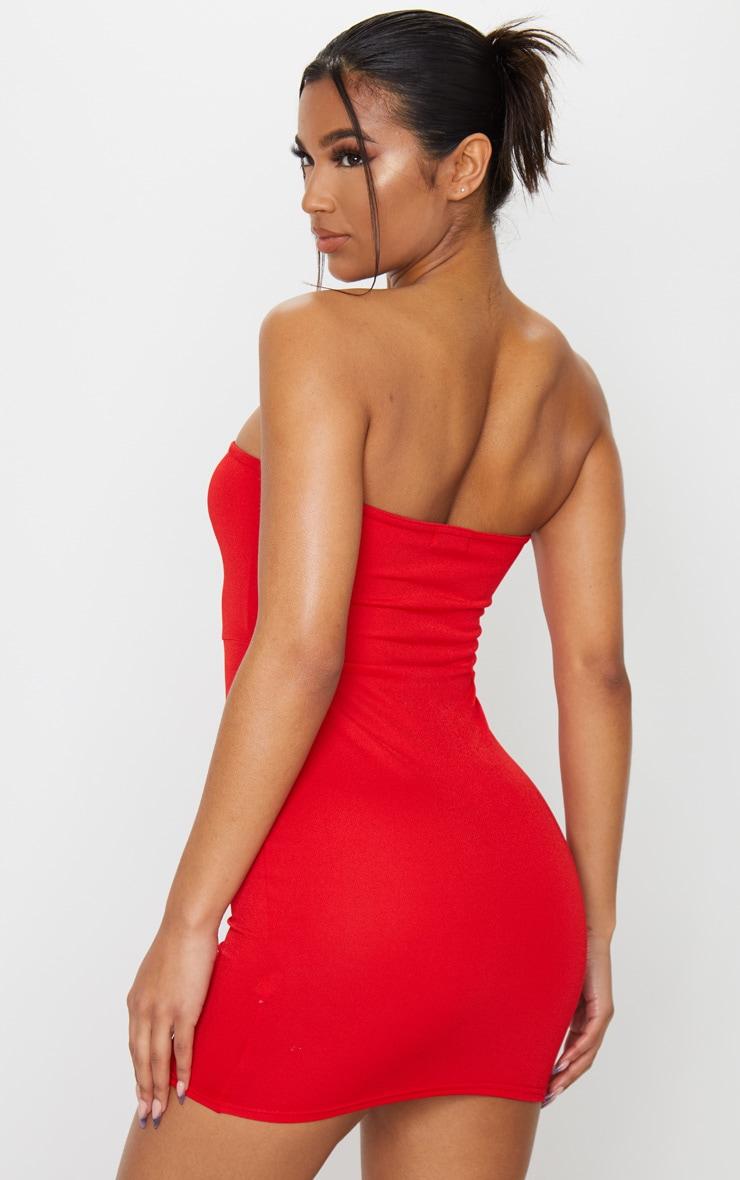 Red Pointy Hem Bandeau Bodycon Dress 2