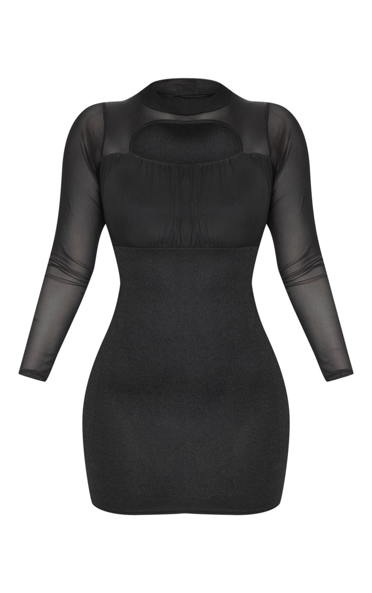 Black Mesh Sleeve Ruched Bust Detail Cut Out Bodycon Dress 3