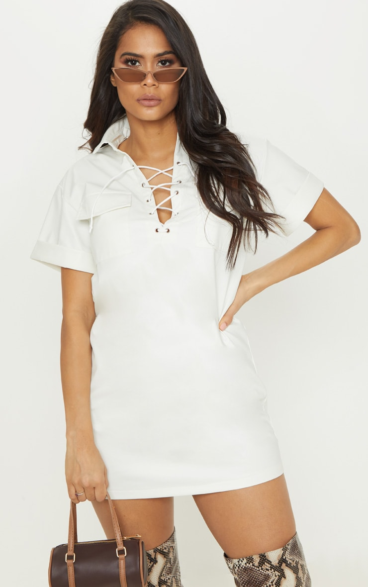 078f31753b77 White Lace Up Front Shirt Dress | Dresses | PrettyLittleThing