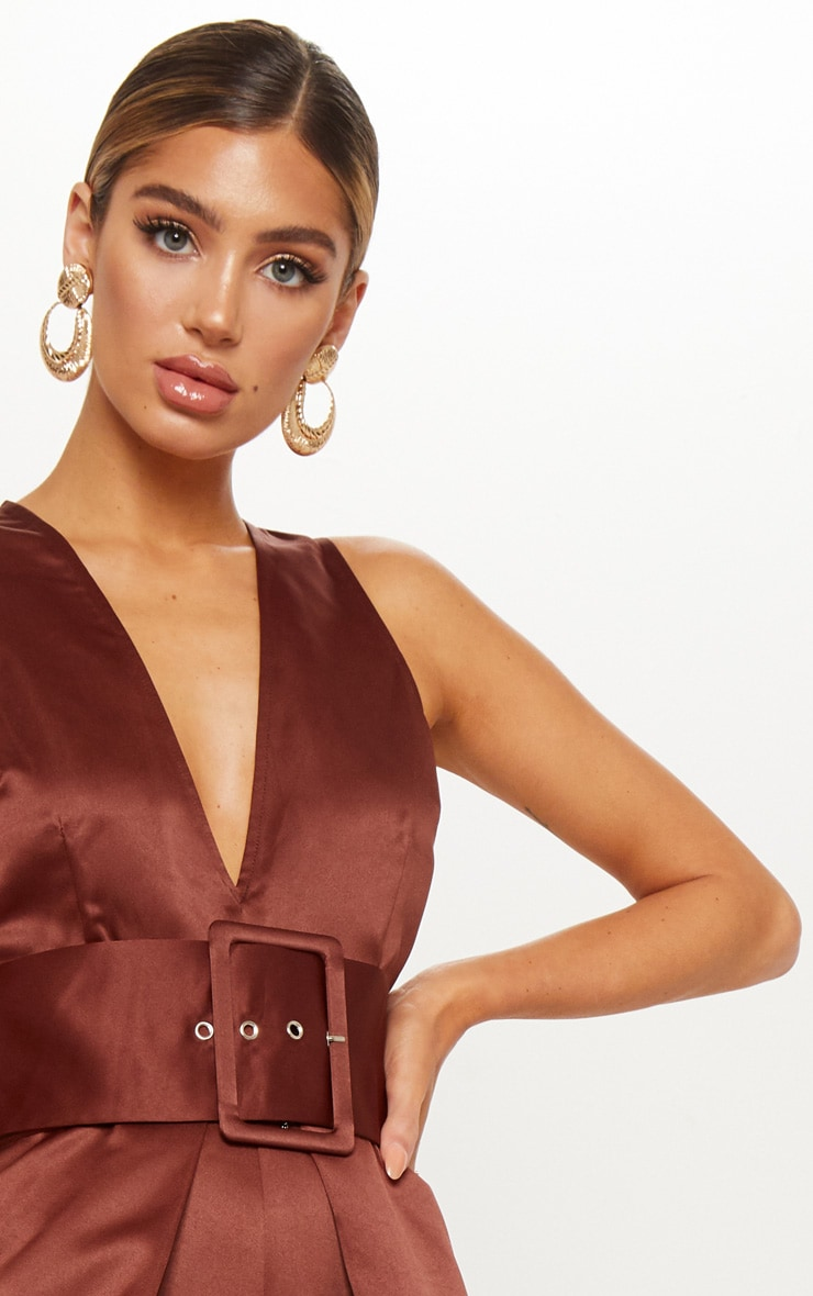 Chocolate Satin Belt Culotte Jumpsuit 5