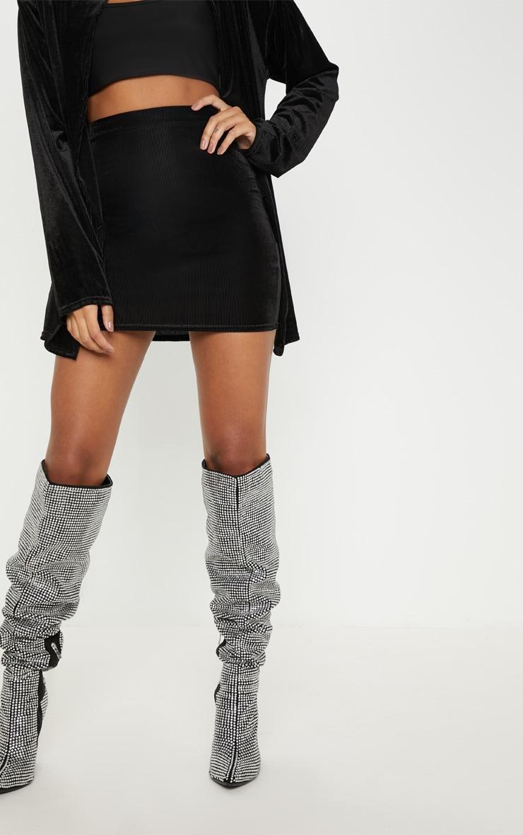 Black Ribbed Velvet Skirt  2