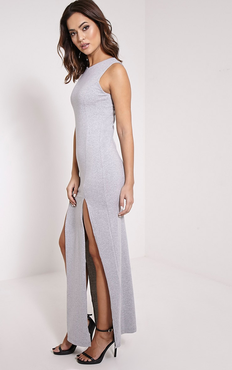 Karina Grey Marl Front Split Dress 4
