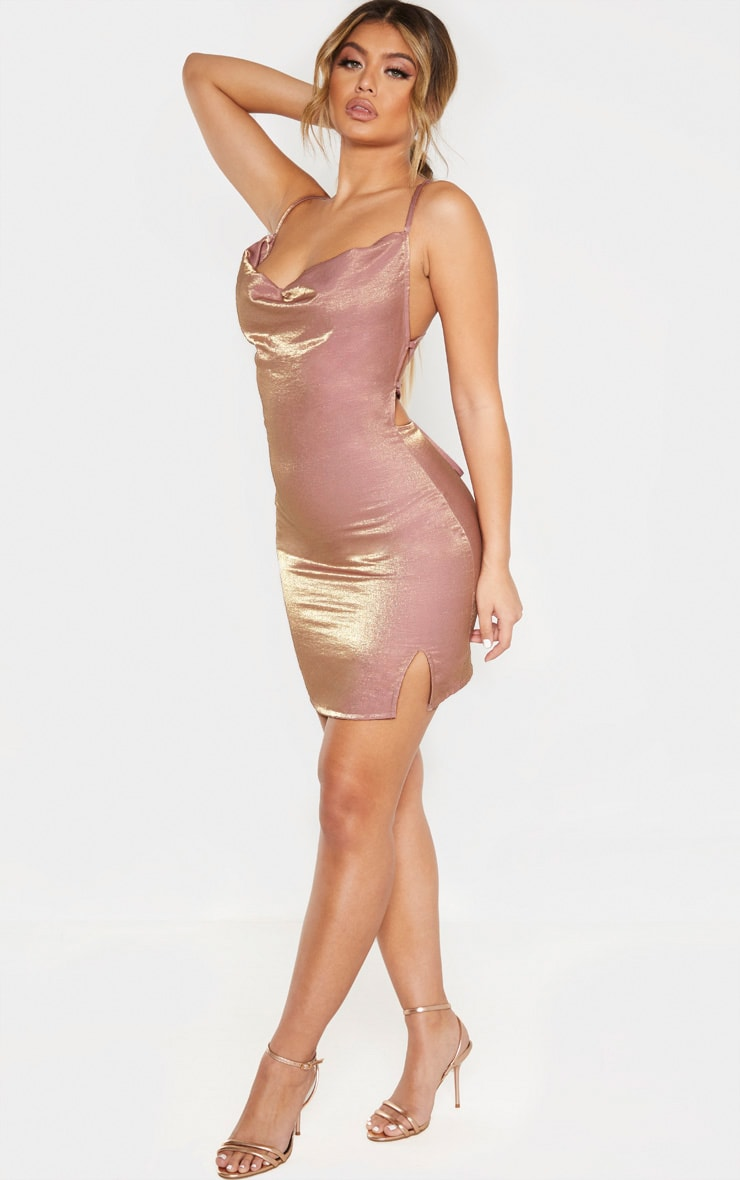 Pink Metallic Cowl Strappy Back Bodycon Dress 4