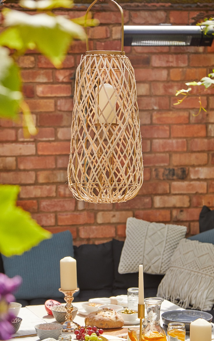 Oval Wicker Hanging Lantern Candle Holder 1