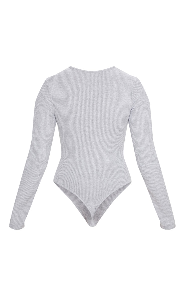 Grey Brushed Rib Button Long Sleeve Bodysuit 4