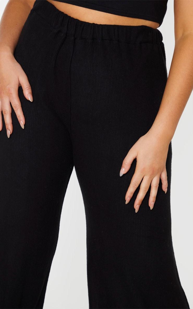 Plus Black Brushed Rib Wide Leg Trouser 5