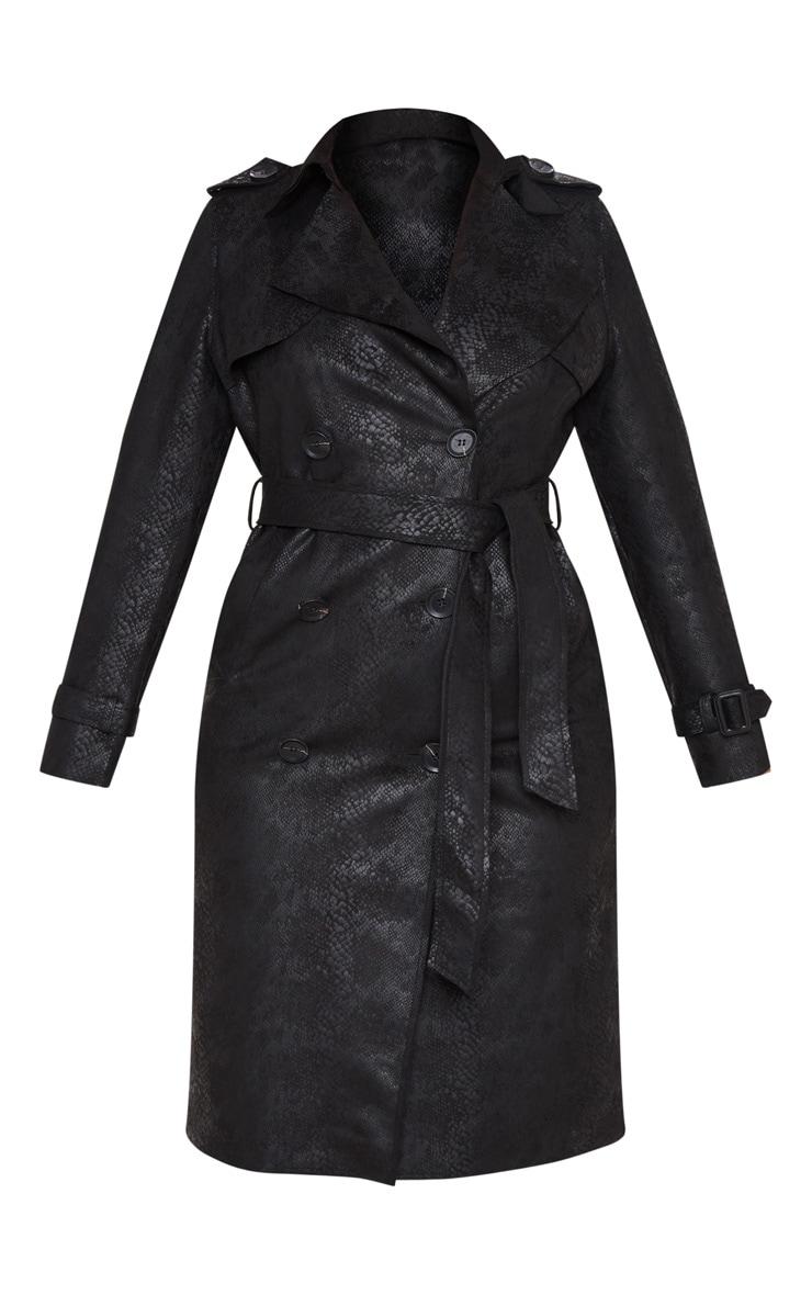 Black Snakeskin Trench Coat 3