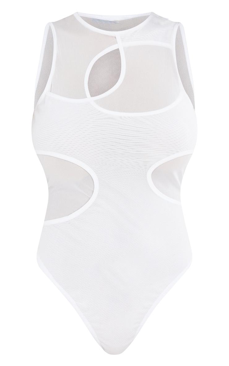 White Mesh Overlay Cut Out Detail Sleeveless Bodysuit 5