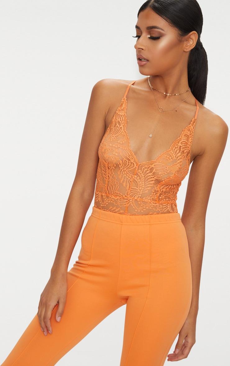 Tangerine Sheer Lace Cross Back Bodysuit  1