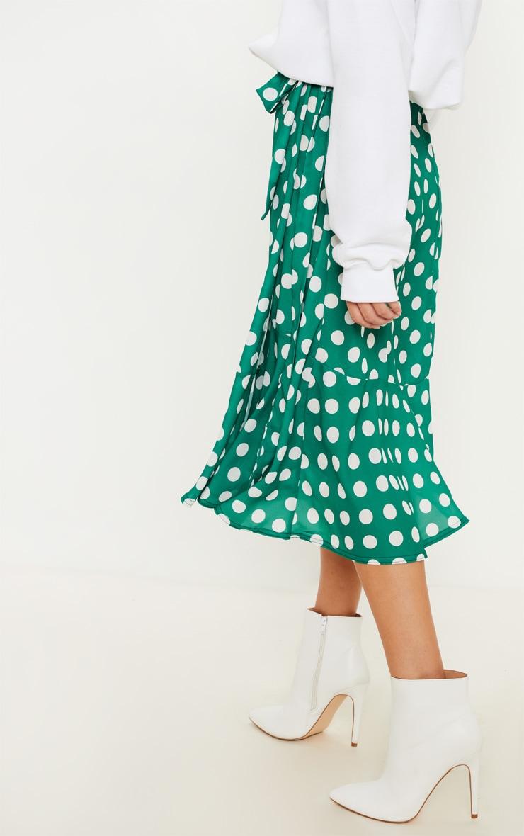 Emerald Green Polka Dot Frill Hem Tie Waist Midi Skirt 4