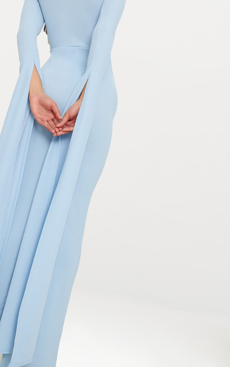 Dusty Blue Cut Out Detail Drape Sleeve Maxi Dress 5