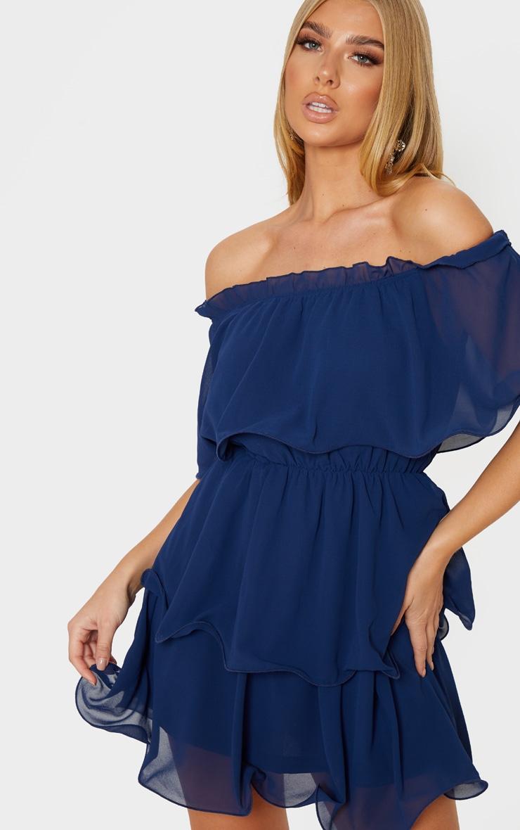 Midnight Blue Chiffon Bardot Ruffle Tiered Dress 5