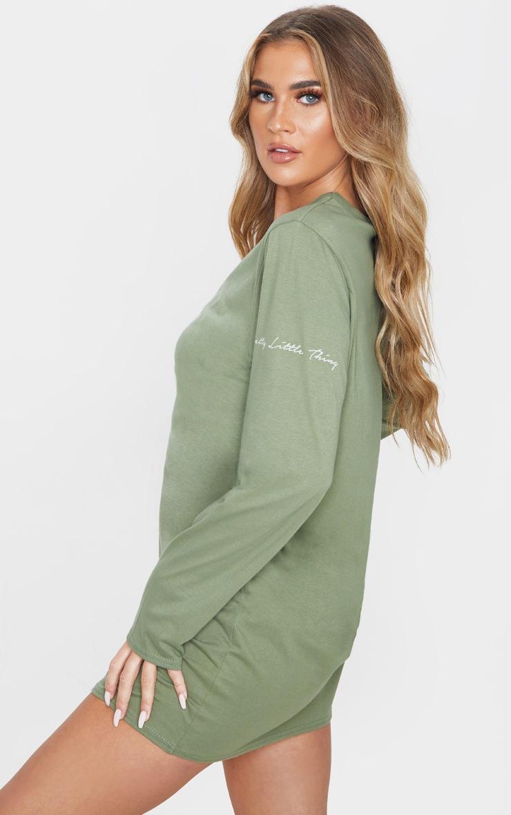 PRETTYLITTLETHING Khaki A/W19 Oversized Long Sleeve T Shirt Dress 2