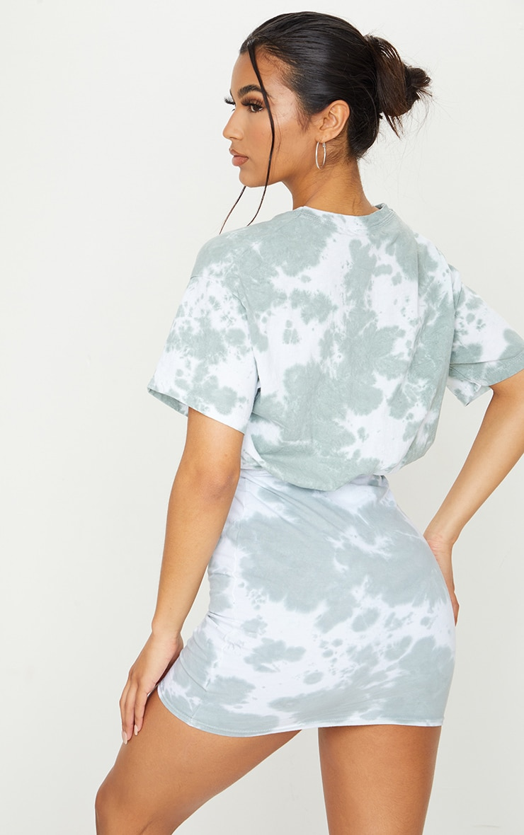Sage Green Tie Dye Elastic Waist T Shirt Dress 2