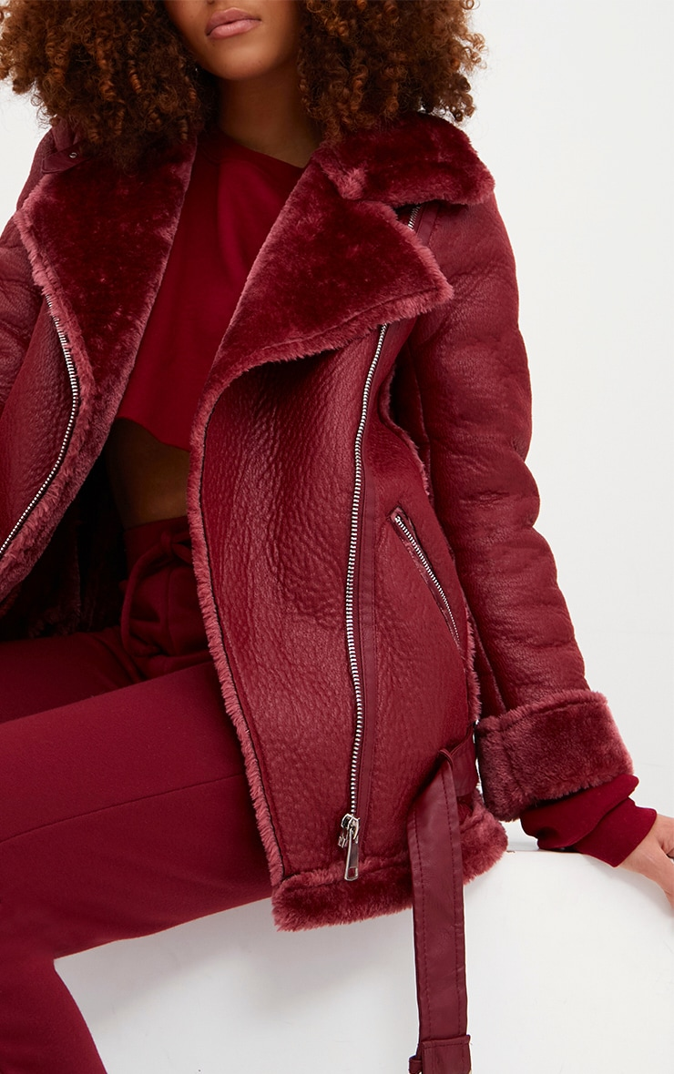 Burgundy PU Aviator Jacket 5