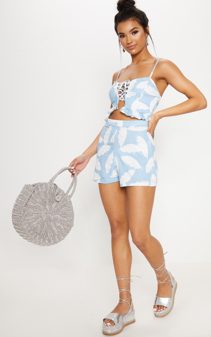 Dusty Blue Palm Print High Waisted Shorts 5