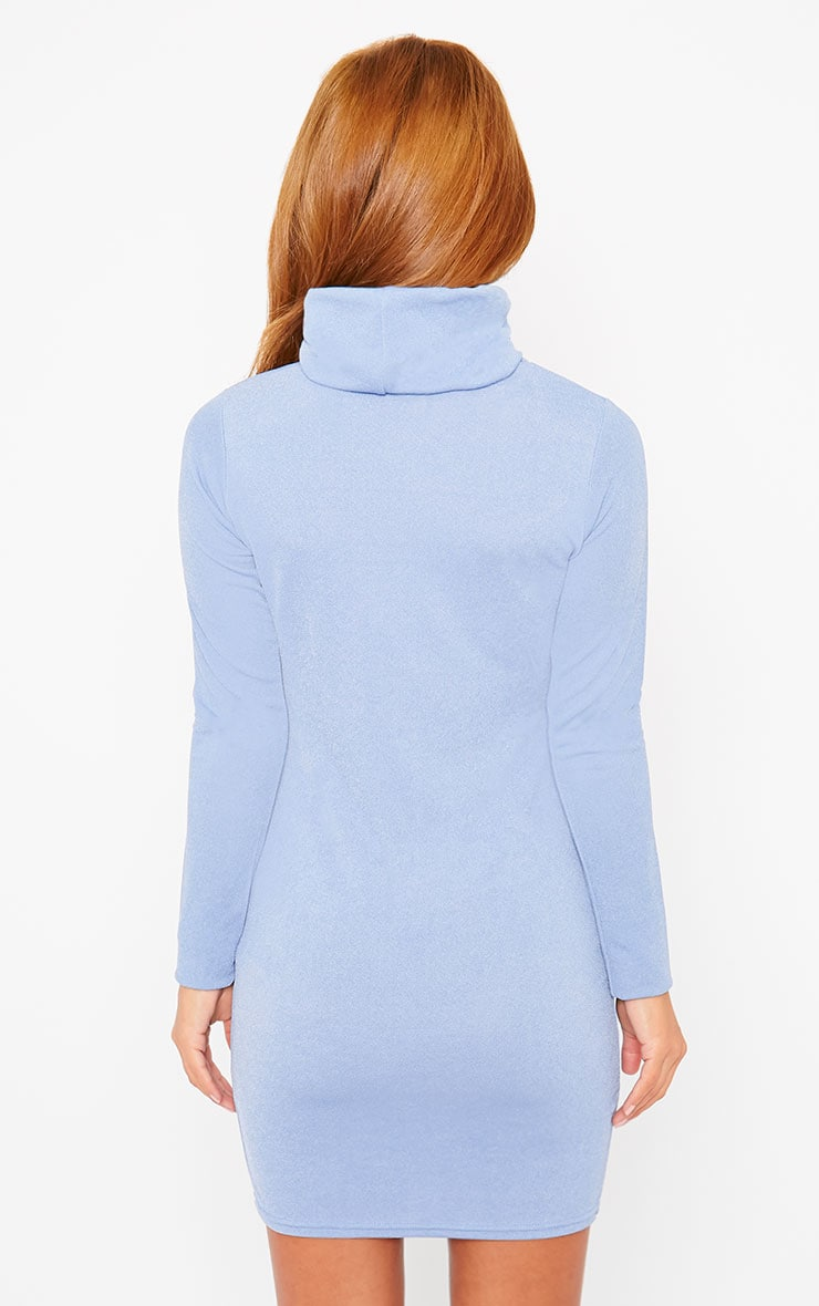 Catrina Powder Blue Roll Neck Dress 2