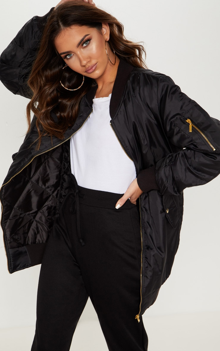 Shelbi Black Longline Bomber Jacket 4