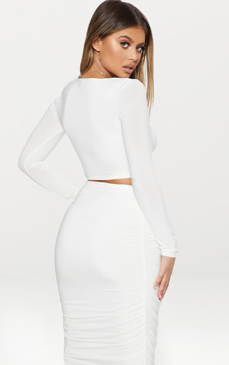 White Second Skin Long Sleeve V Neck Crop Top 4