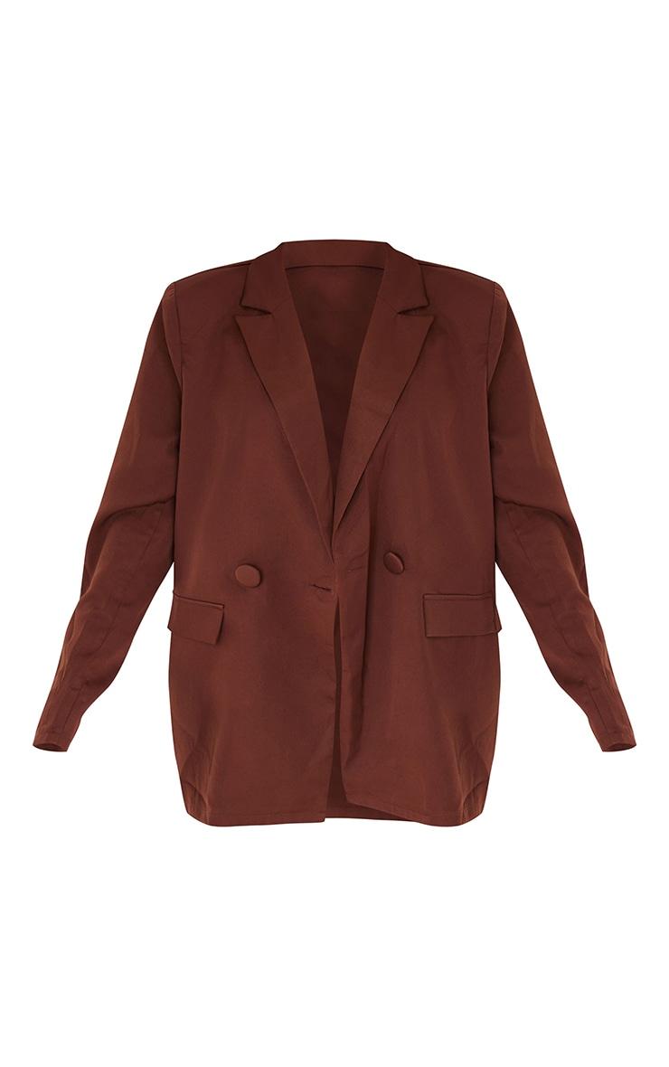 Chocolate Brown Woven Button Sleeve Detail Blazer 5