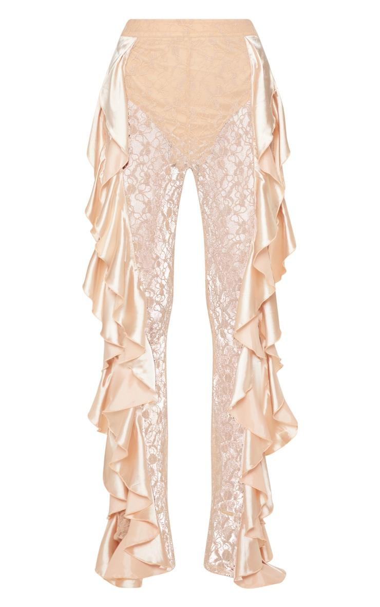 Nude Lace Ruffle Detail Flare Leg Trouser 3