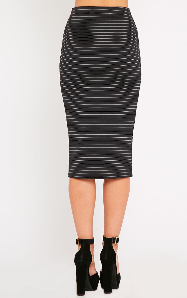 Liane Black Pinstripe Midi Skirt  4