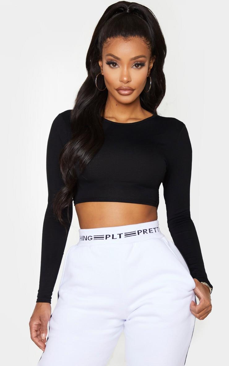 Shape Black Jersey Tied Back Crop Top 2