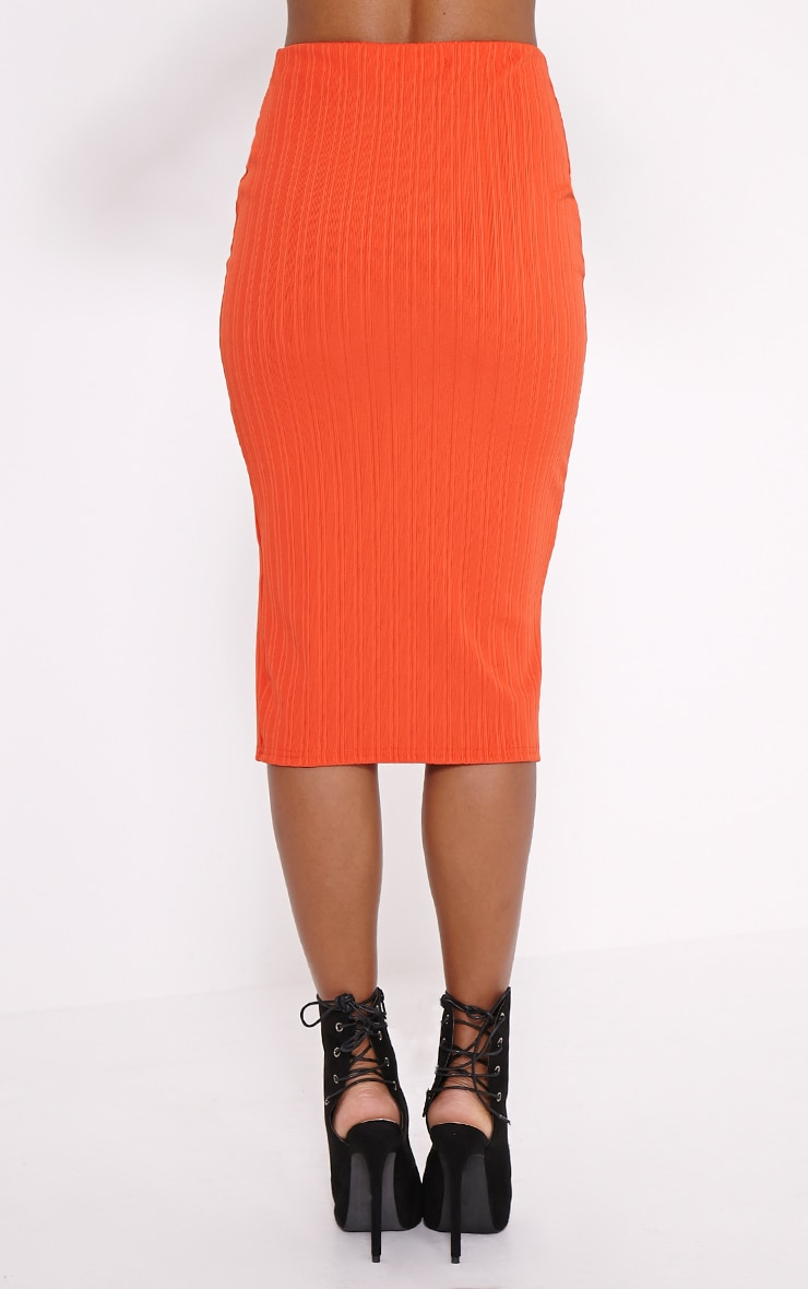 Kaya Orange Ribbed Zip Front Midi Skirt 4