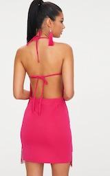 dd4393feda Fuchsia Pink Tassel Detail Halterneck Bodycon Dress image 2