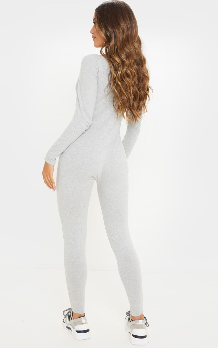 Grey Seamless Cotton Elastane V Neck Jumpsuit 2