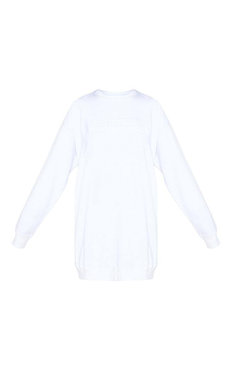 PRETTYLITTLETHING White Embossed Slogan Sweater Dress 5