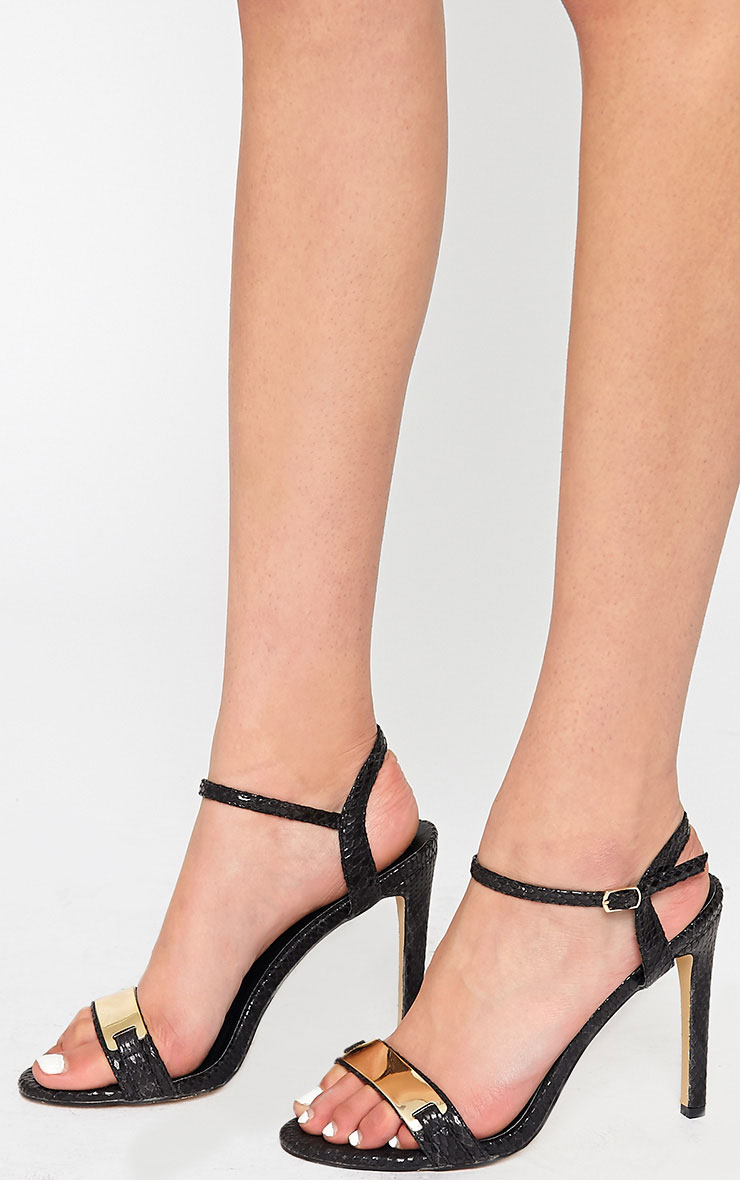 Jamie-Lee Black Gold Detail One Strap Sandals 3