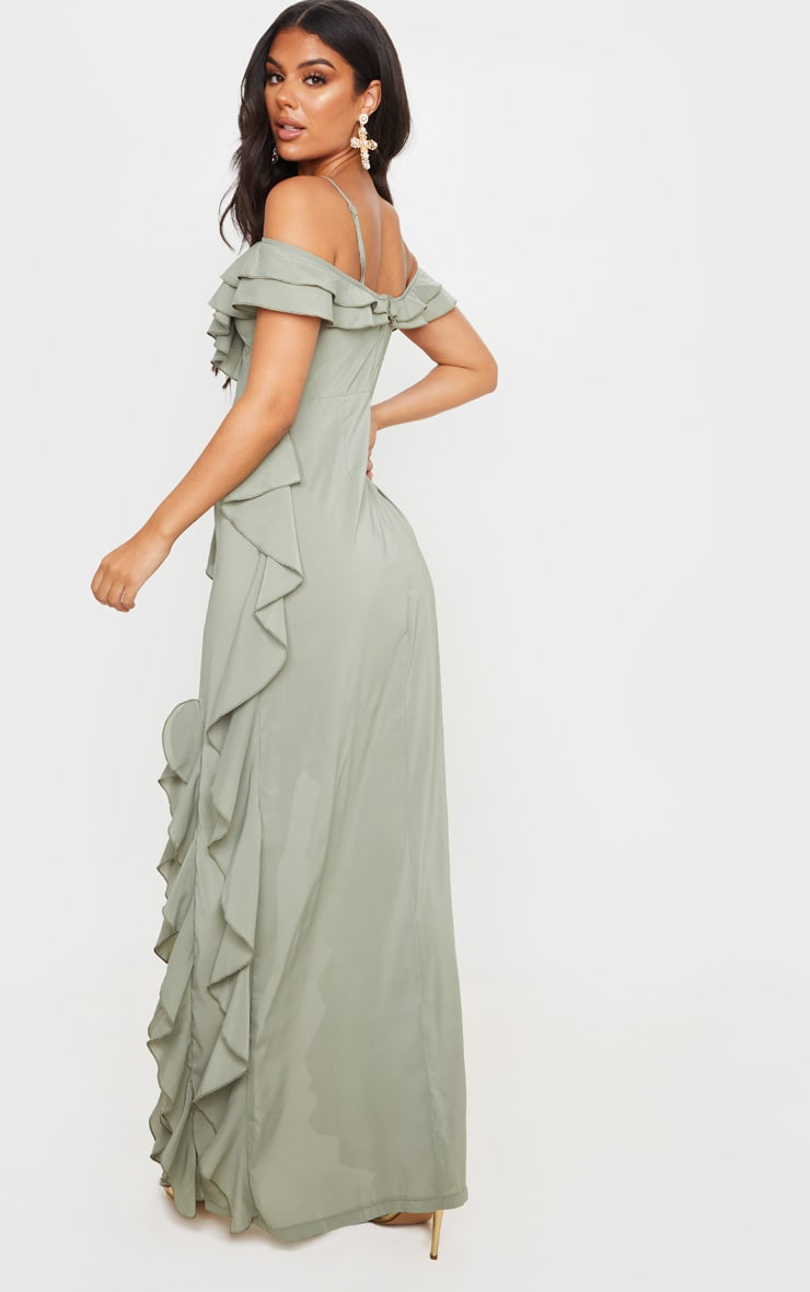 Sage Green Cold Shoulder Ruffle Detail Maxi Dress 2
