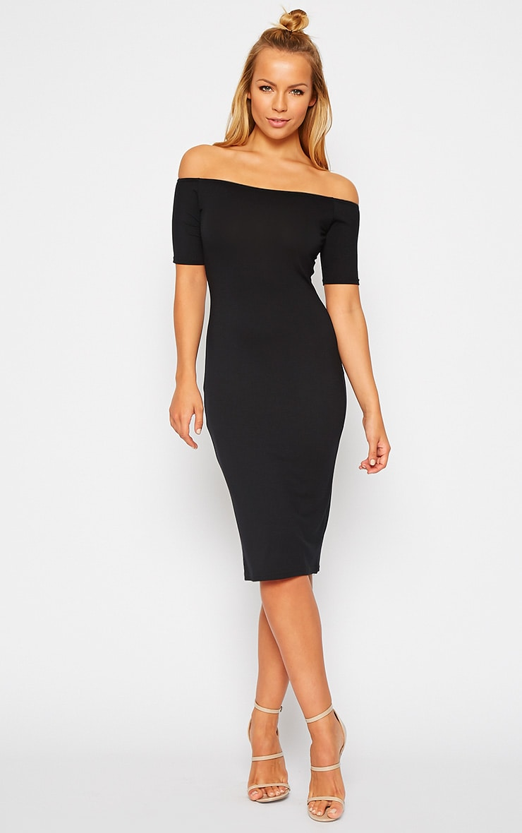 Caty Black Jersey Bardot Midi Dress 3