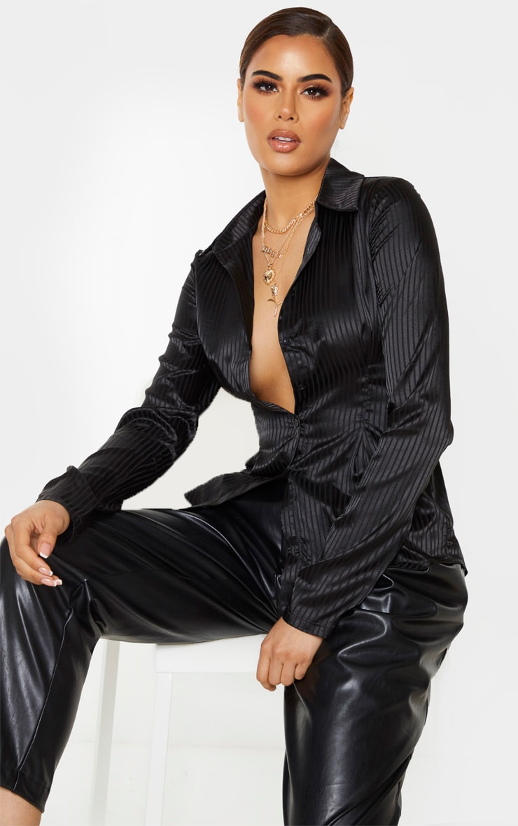 Tall Black Stripe Satin Button Up Button Shirt 1